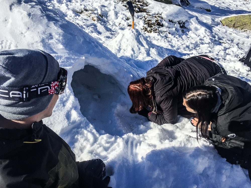 construction d'igloo à la montagne