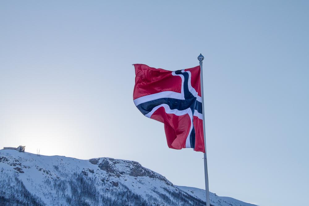 Drapeau hiver ville Tromso
